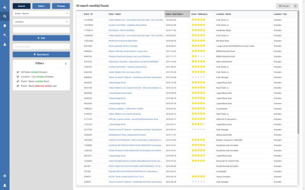 MESLIS WebApp table view.