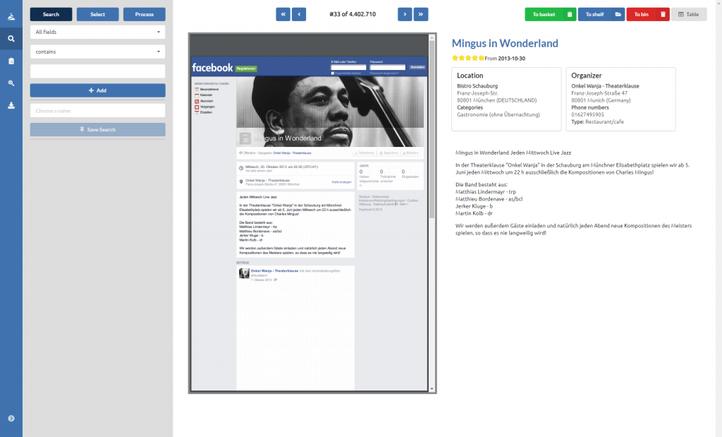 MESLIS WebApp detail view.